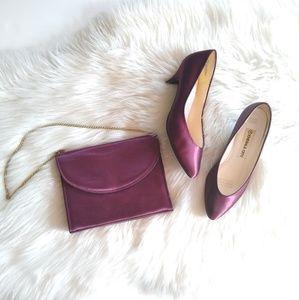Vintage matching satin heels and chain handbag